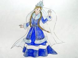 девушку зиму карандашом