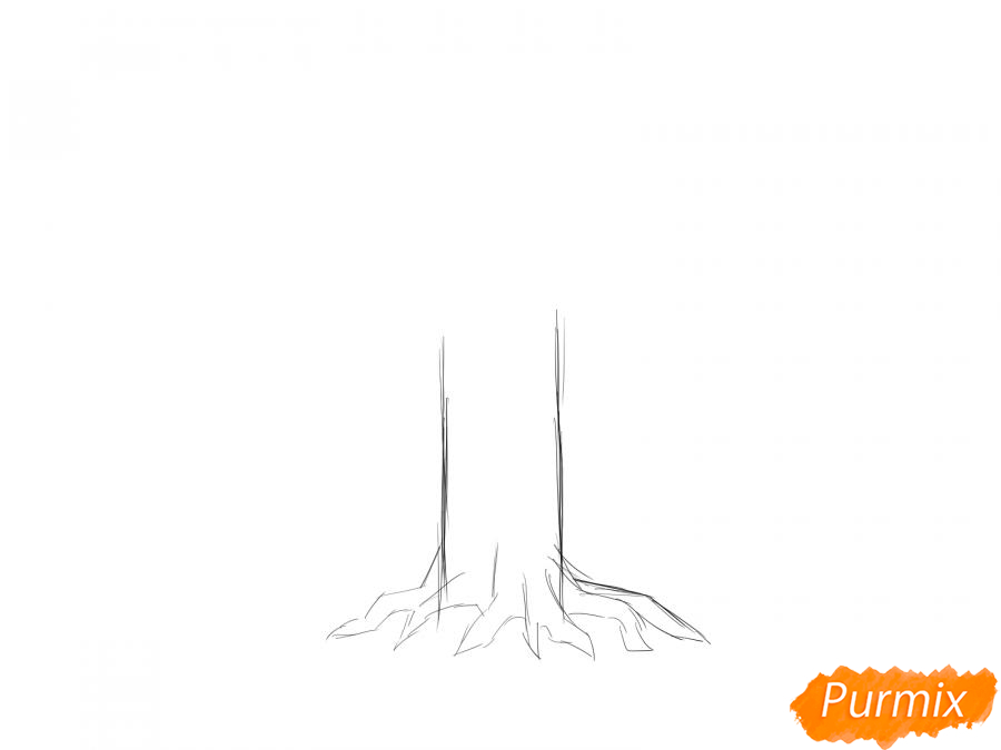 Рисуем дуб без листьев - шаг 3