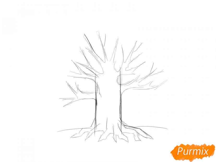 Рисуем дуб без листьев - шаг 4