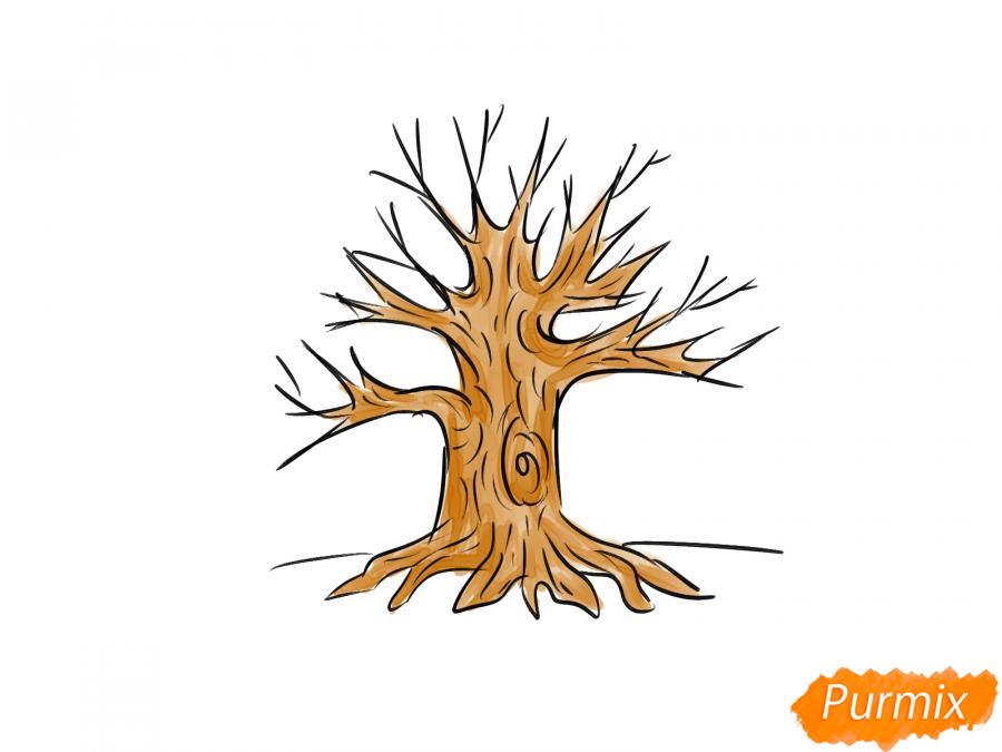 Рисуем дуб без листьев - шаг 7