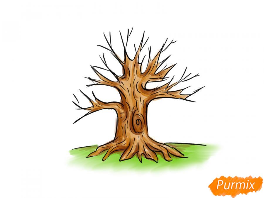Рисуем дуб без листьев - шаг 8