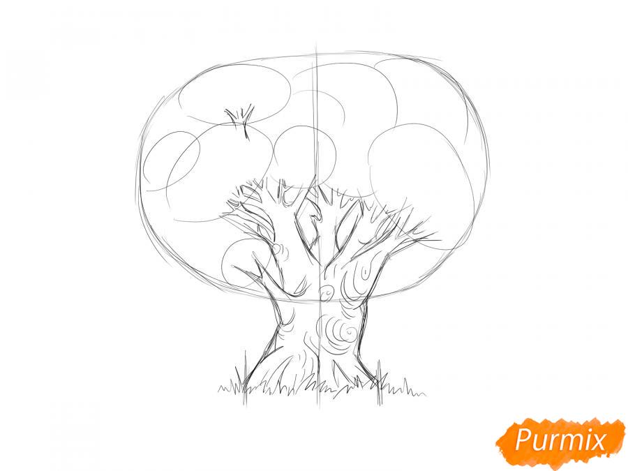 Рисуем дуб осенью - шаг 3