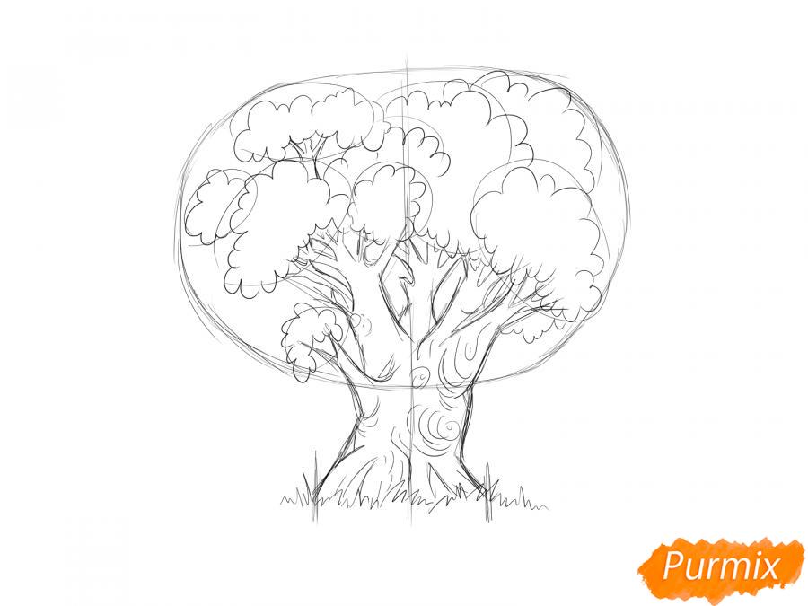 Рисуем дуб осенью - шаг 4