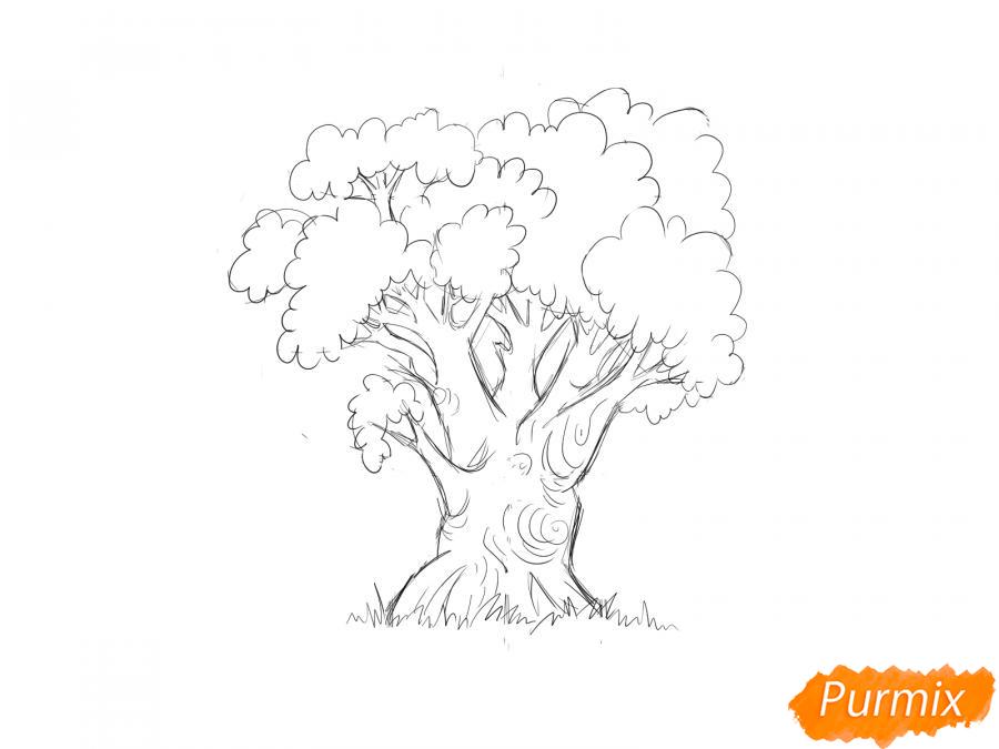 Рисуем дуб осенью - шаг 5