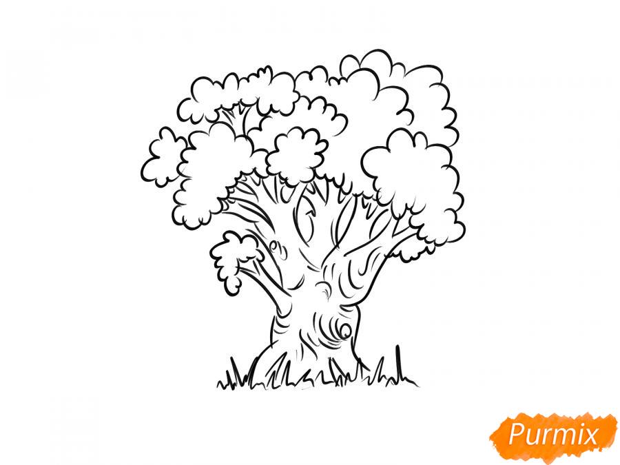 Рисуем дуб осенью - шаг 6