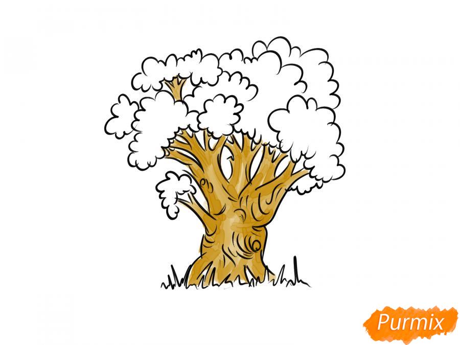 Рисуем дуб осенью - шаг 7