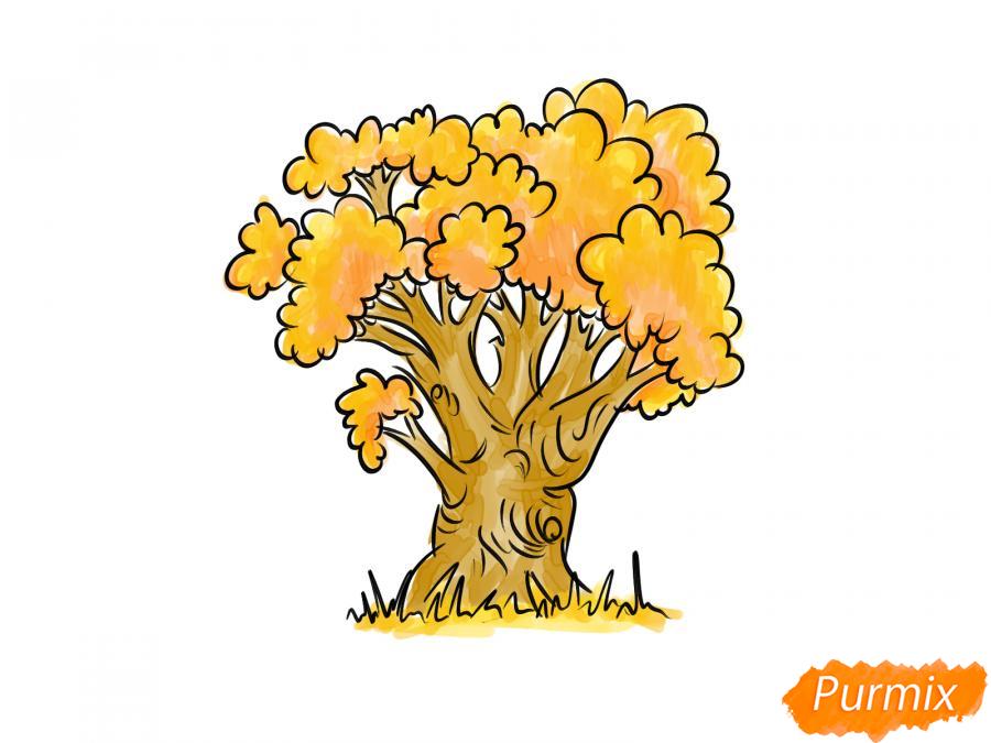 Рисуем дуб осенью - шаг 8