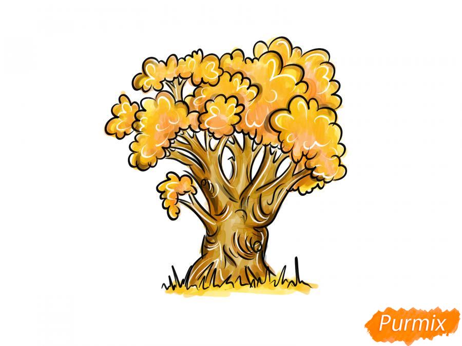 Рисуем дуб осенью - шаг 9