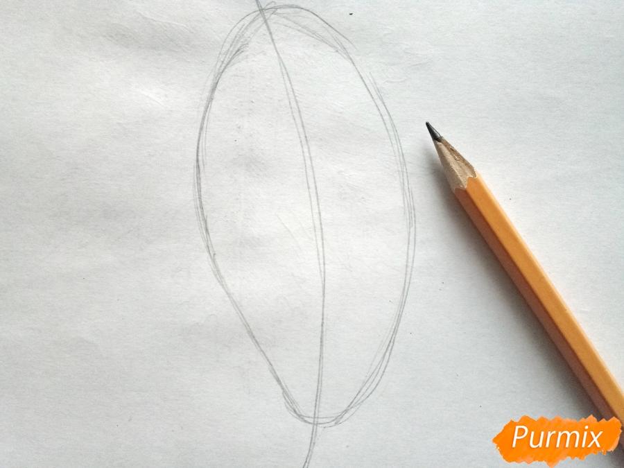 Рисуем дубовый лист карандашами - шаг 1