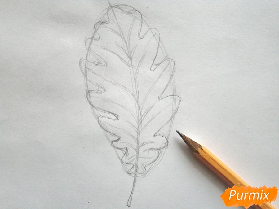Рисуем дубовый лист карандашами - шаг 3