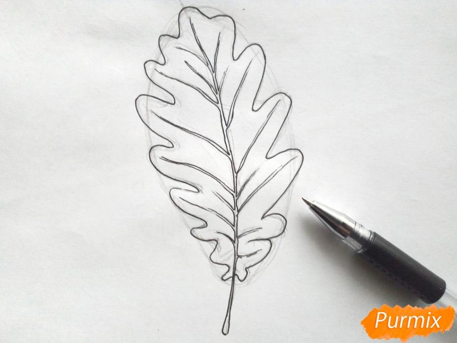 Рисуем дубовый лист карандашами - шаг 4