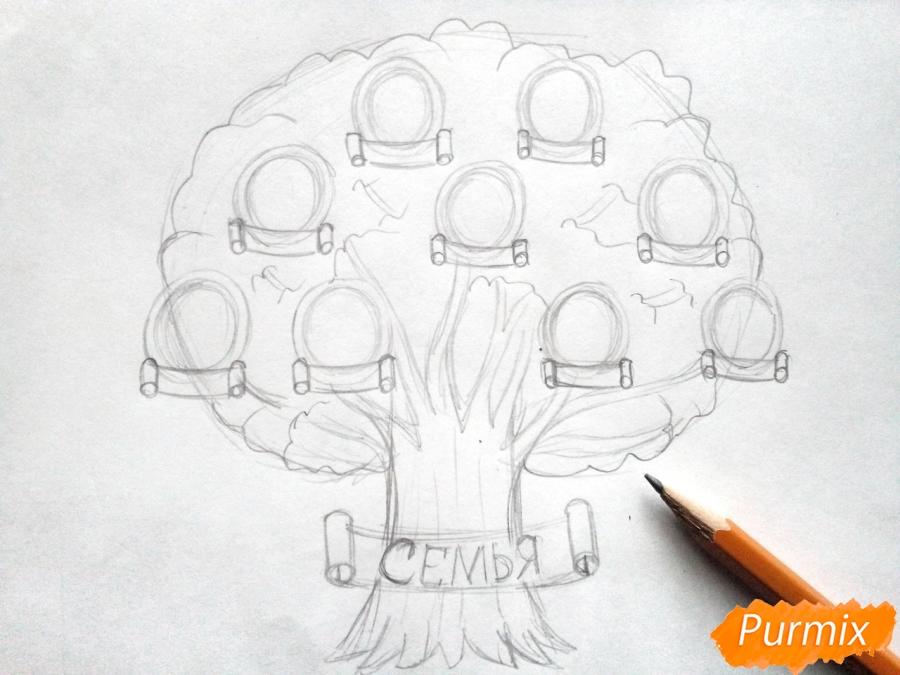 Рисуем генеалогическое дерево семьи карандашами - шаг 3