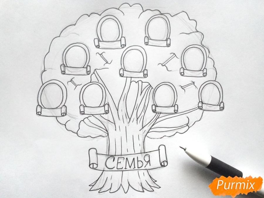 Рисуем генеалогическое дерево семьи карандашами - шаг 4