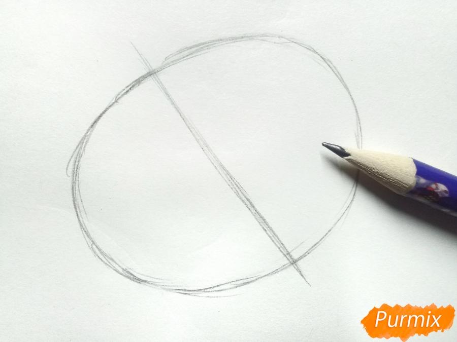 Рисуем цветок георгин - шаг 1