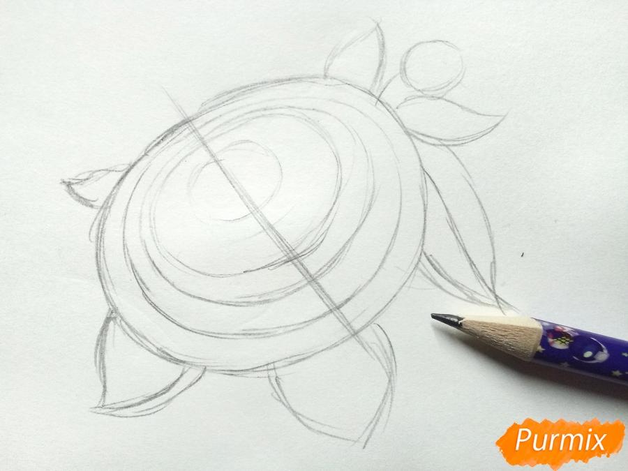 Рисуем цветок георгин - шаг 2