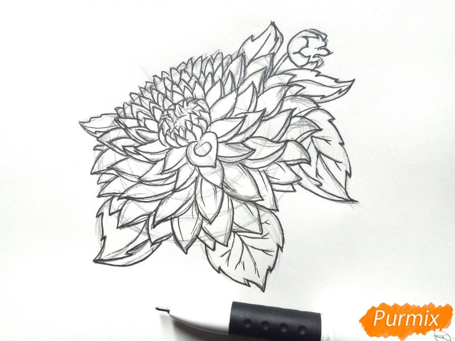 Рисуем цветок георгин - шаг 5