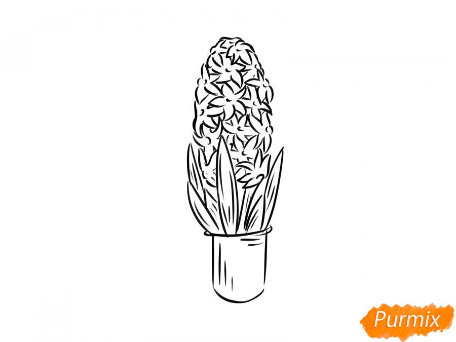 Рисуем гиацинт в горшке - шаг 6