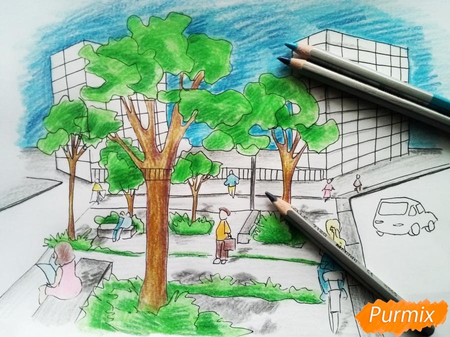 Рисуем городской парк карандашами - шаг 10
