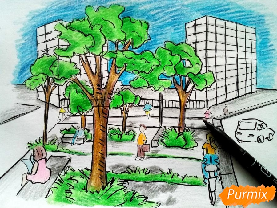 Рисуем городской парк карандашами - шаг 11