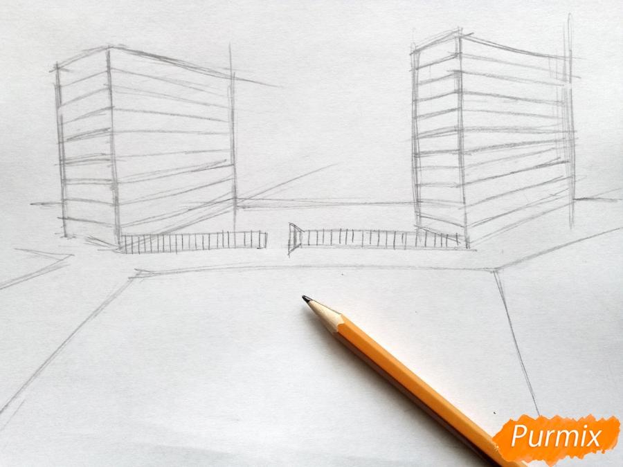 Рисуем городской парк карандашами - шаг 2