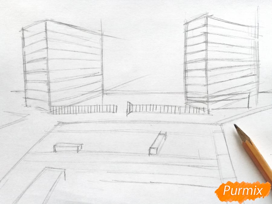 Рисуем городской парк карандашами - шаг 3