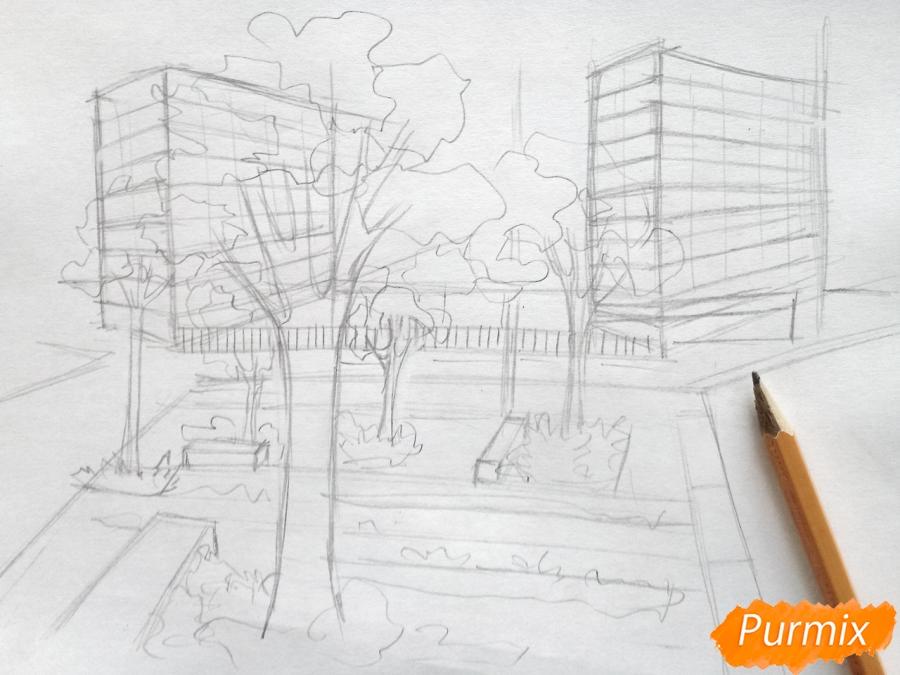 Рисуем городской парк карандашами - шаг 4