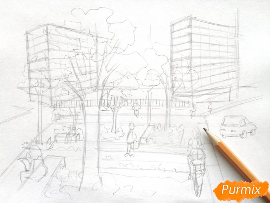 Рисуем городской парк карандашами - шаг 5