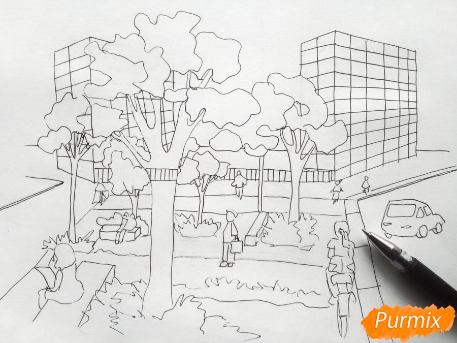 Рисуем городской парк карандашами - шаг 6