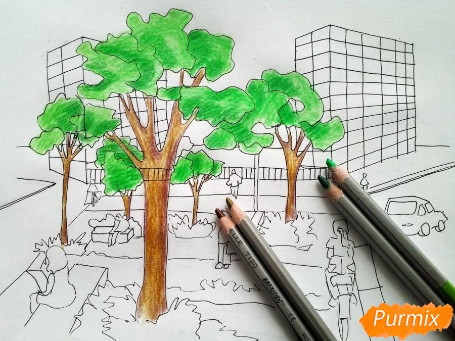 Рисуем городской парк карандашами - шаг 7