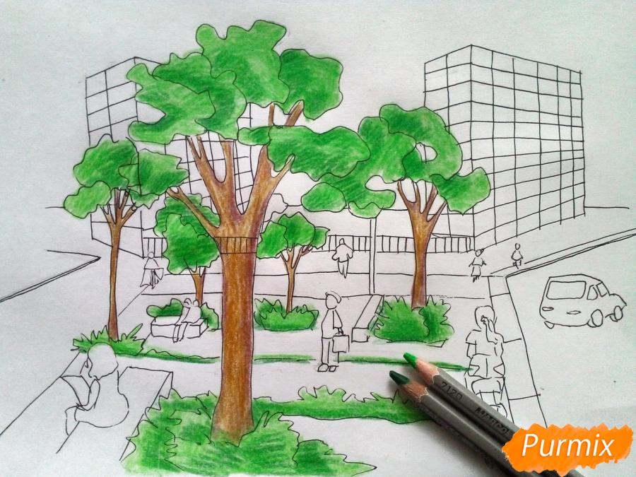Рисуем городской парк карандашами - шаг 8