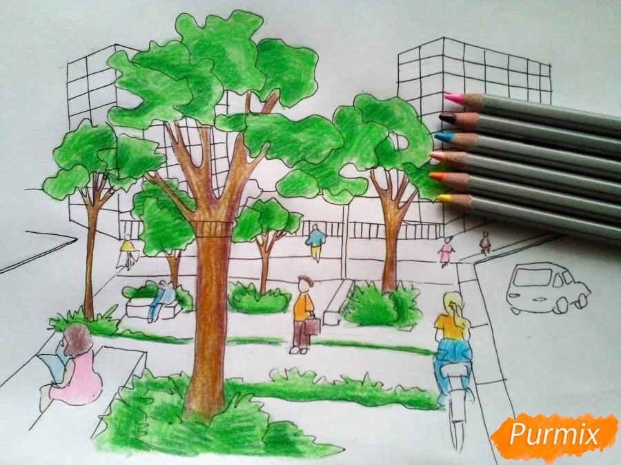 Рисуем городской парк карандашами - шаг 9