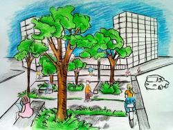Фото городской парк карандашом