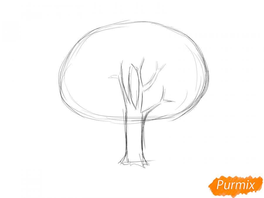 Рисуем горящее дерево - шаг 2