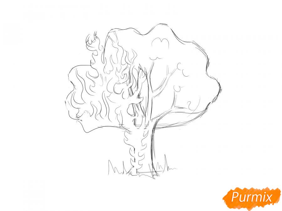 Рисуем горящее дерево - шаг 4