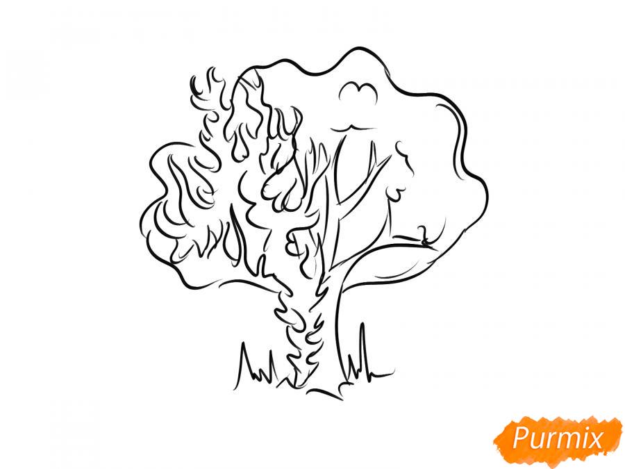 Рисуем горящее дерево - шаг 5