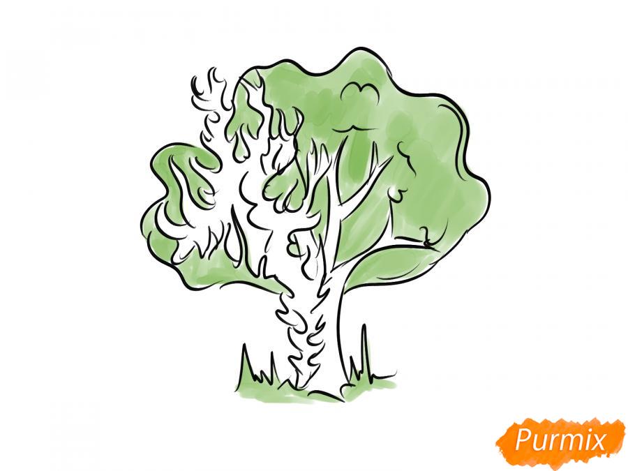 Рисуем горящее дерево - шаг 6