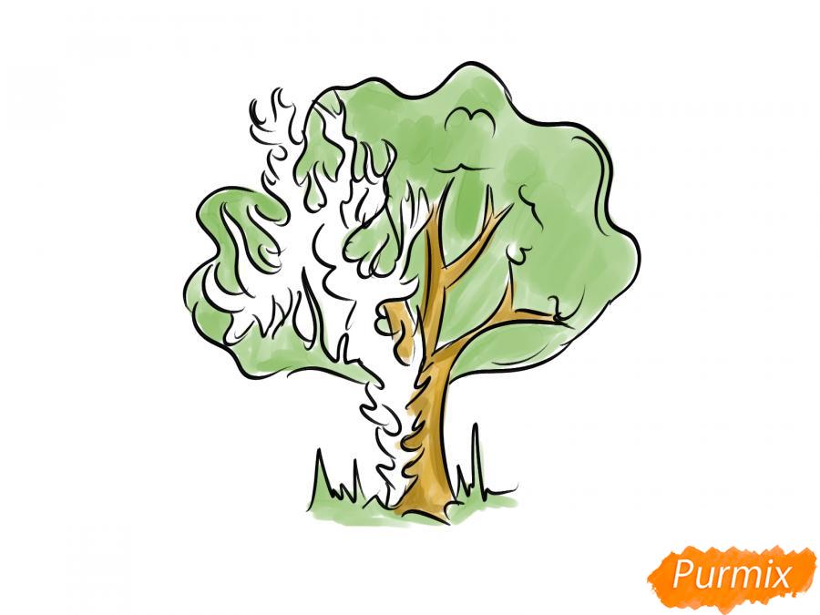Рисуем горящее дерево - шаг 7