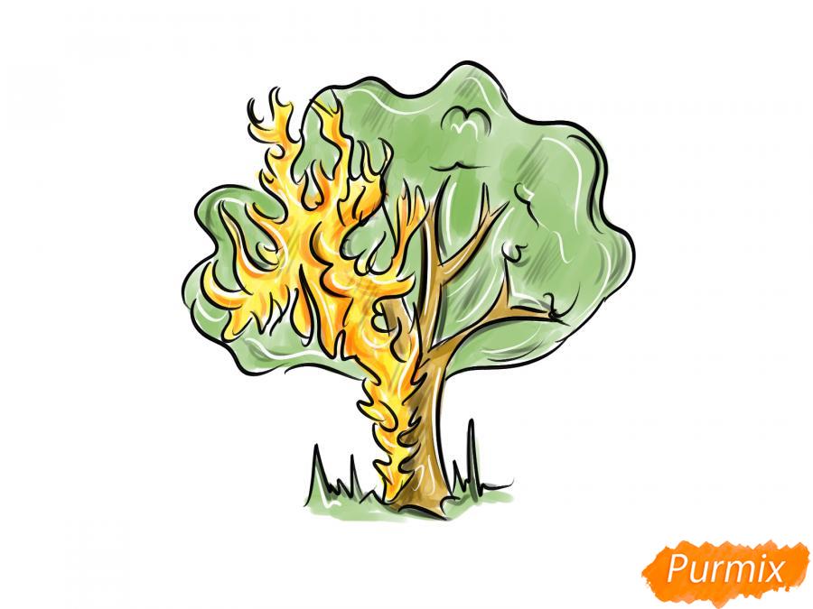 Рисуем горящее дерево - шаг 8