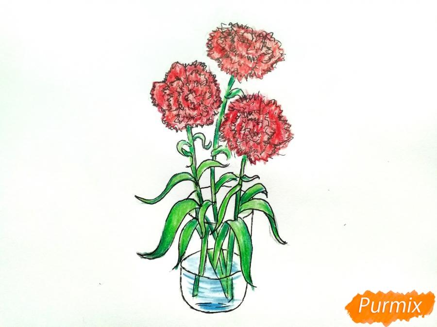 Рисуем букет гвоздик в вазе - шаг 10