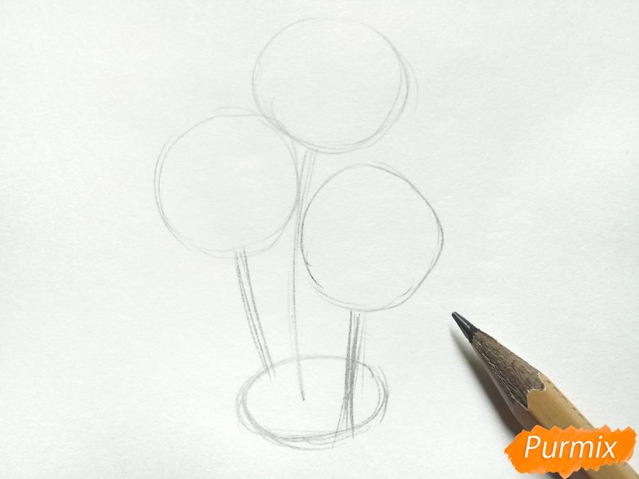 Рисуем букет гвоздик в вазе - шаг 2