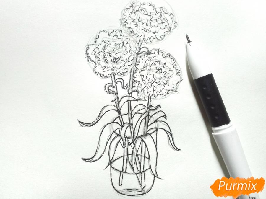 Рисуем букет гвоздик в вазе - шаг 6