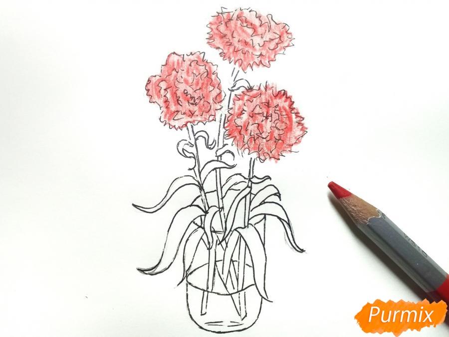 Рисуем букет гвоздик в вазе - шаг 7