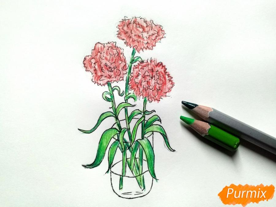 Рисуем букет гвоздик в вазе - шаг 8