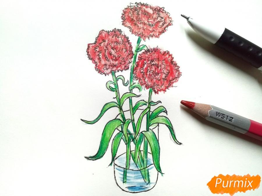 Рисуем букет гвоздик в вазе - шаг 9
