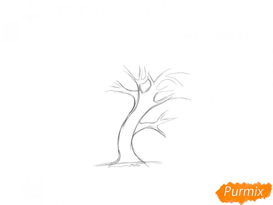 Рисуем и раскрасить зелёную иву - шаг 2