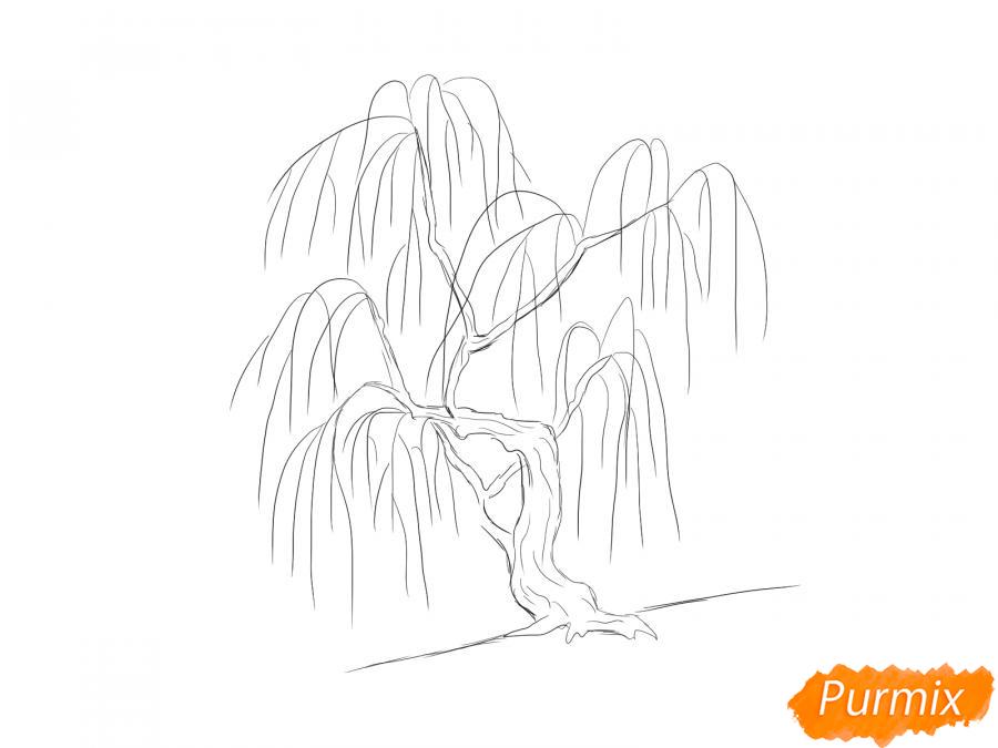 Рисуем иву зимой - шаг 4