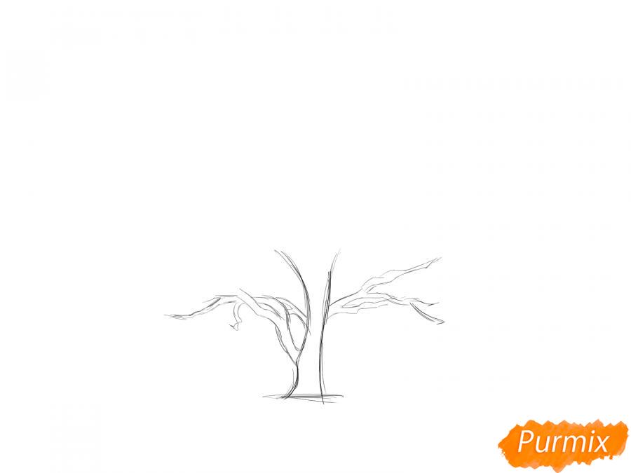 Рисуем каштан без листьев - шаг 2