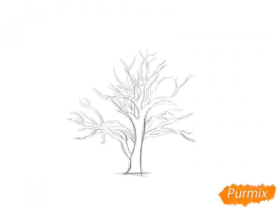 Рисуем каштан без листьев - шаг 3