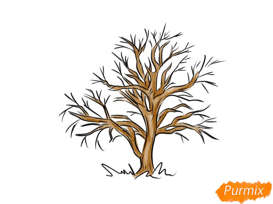 Рисуем каштан без листьев - шаг 6