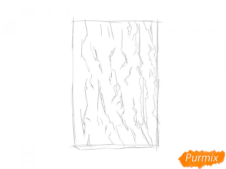 Рисуем кору абрикосового дерева - шаг 2